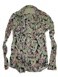 GAS SHIRTS Thema.SM04 Item.SHIRTS Style No.151098 Material No.076126 STYLE NAME.ANDREW CORE/S MIX STRETCH FLOWER PRINT Color.0200 BLACK
