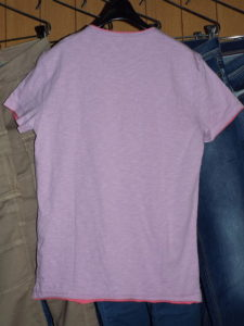 GAS Thema.SM04 Item.T-SHIRTS M/C Style No.542718 Material No.182301 STYLE NAME.BRISK/S SER. JERSEY FLAME Color.3732 SOFT LILLAC