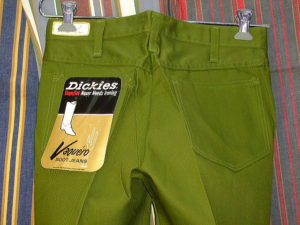 DICKIES LOT 998 E VAQUERO BOOT JEANS SHAPE/SET BOOT-CUT GREEN 50%POLYESTER 50%COTTON
