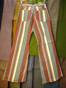 BIGJOHN BUTTON-UP JEANS BELL BOTTOM RED BROWN 100%COTTON Fabric Made in U.S.A.
