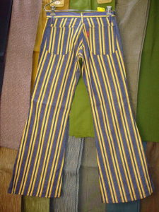 BIGJOHN BUTTON-UP JEANS BELL BOTTOM YELLOW 100%COTTON Fabric Made in U.S.A.