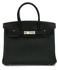 HERMES BIRKIN 30cm TAURILLON CLEMENCE BLACK / SILVER METAL FITTINGS