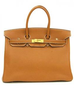 HERMES BIRKIN 35cm TAURILLON CLEMENCE GOLD / GOLD METAL FITTINGS